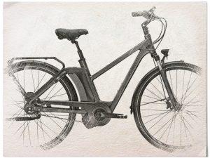 Gezeichnetes E Bike der Marke Kalkhoff