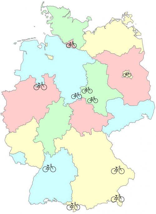 E-Bike verleih in Deutschland Standpunkte