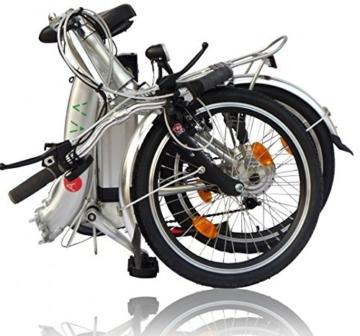 AsVIVA B7 Elektrofahrrad/Faltrad 20 Zoll - E-Bike mit 36V 11Ah Akku das Klapprad/Pedelec, silber -