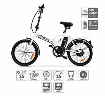 Nilox E-Bike X1 New, Elektrisches Fahrrad Faltend, Weis, One size - 1