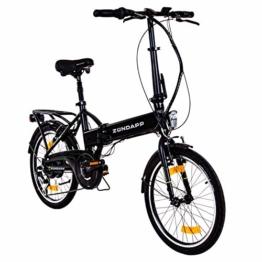 Zündapp Faltrad E-Bike 20 Zoll Z101 Klapprad Pedelec StVZO Elektrofaltrad 6 Gang (schwarz) - 1